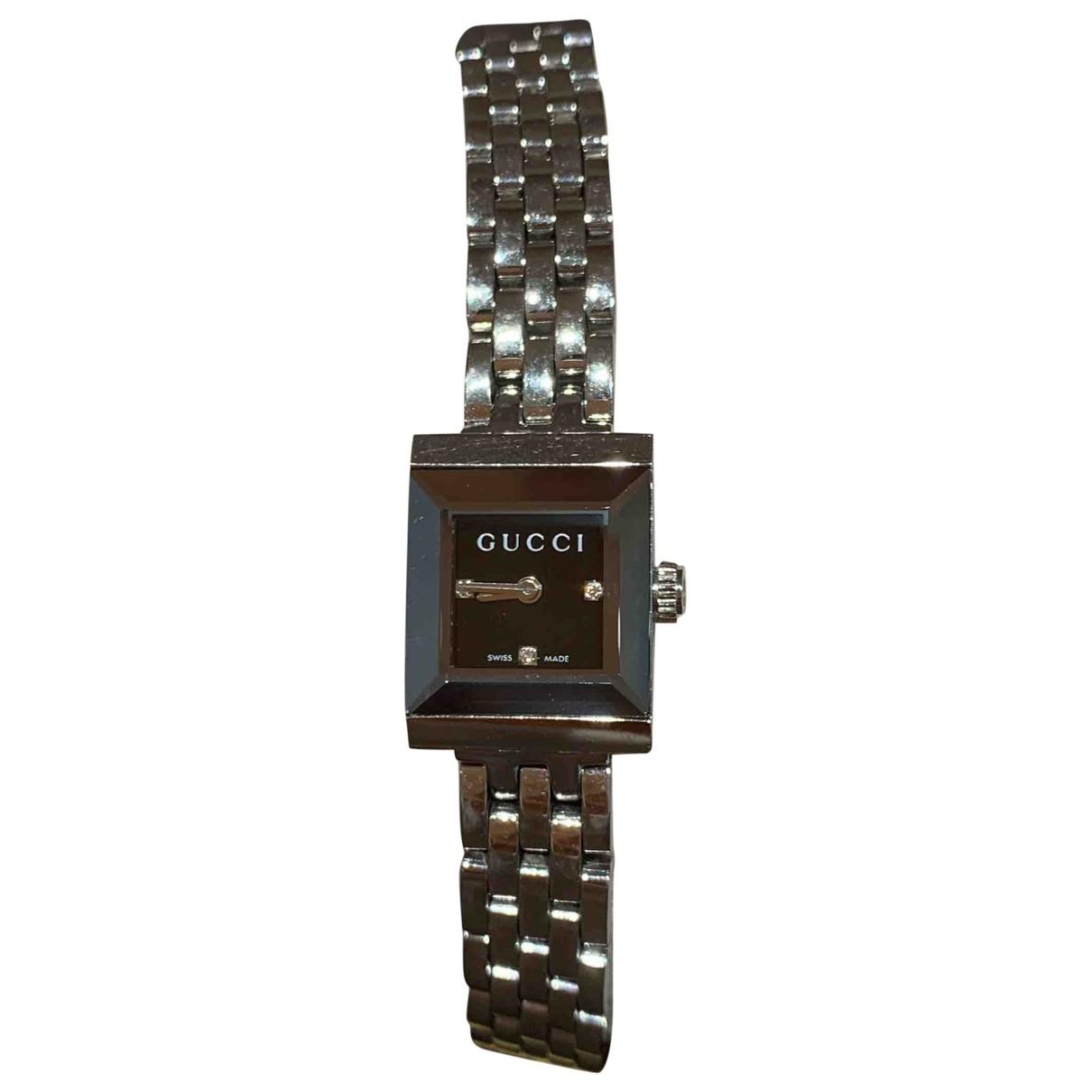 Gucci - Montre   pour femme en acier - noir