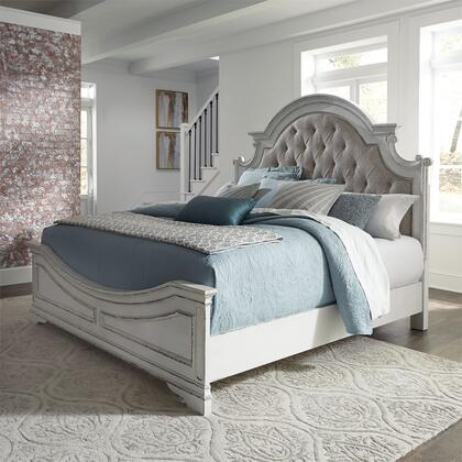 Magnolia Manor 244-BR-KUB King Size Upholstered Bed with Artistic Distressing in Antique White