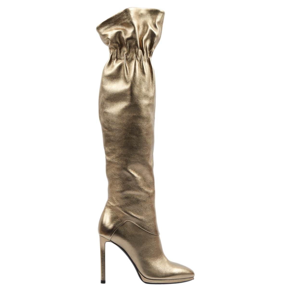 Roberto Cavalli \N Gold Leather Boots for Women 36 EU