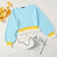 Pullover mit Rueschenbesatz und Streifen