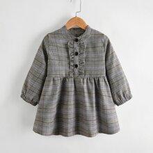 A-Linie Kleid mit Rueschenbesatz und Karo Muster