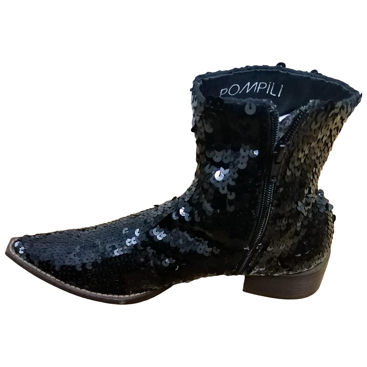 - Boots   pour femme en a paillettes - noir
