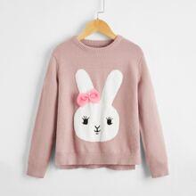 Girls Bow Detail Rabbit Sweater