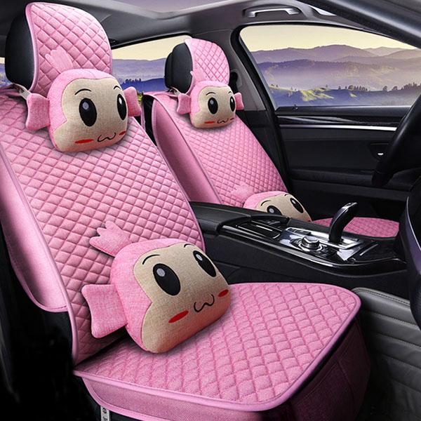 Fabulous Cartoon Figure Plain Grided Universal Car Set Covers