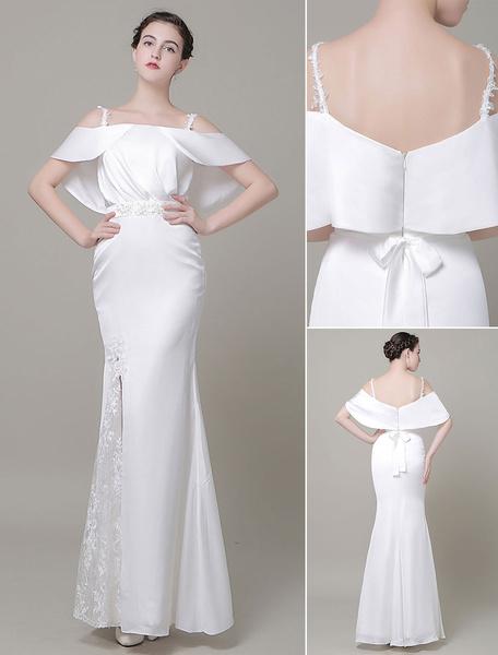 Milanoo Vestido de novia de encaje escote de hombros caidos de encaje hasta el suelo