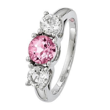 Survivor Collection Womens Genuine Pink Topaz Sterling Silver 3-Stone Cocktail Ring, 7 , No Color Family