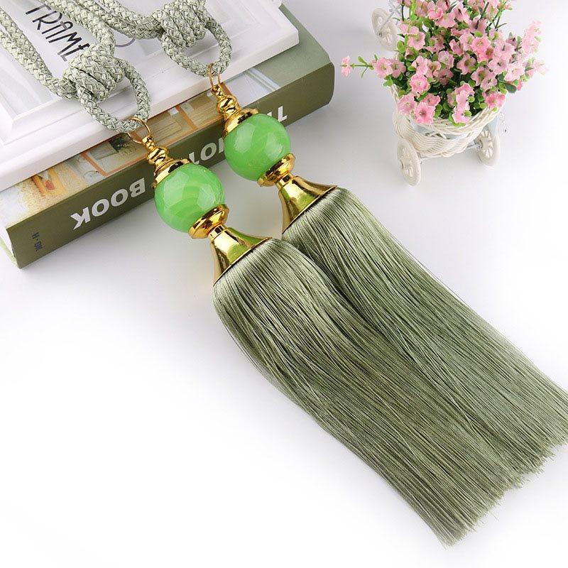 I Pair European Style Jade Hanging Ball Curtains Tie Backs