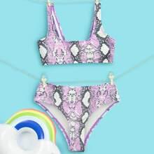 Bikini Badeanzug mit Schlangenleder Muster und hoher Taille