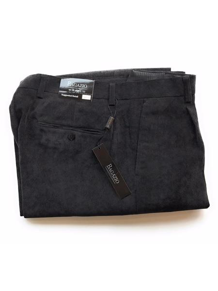 Bagazio Men's Mini Corduroy Black Single Pleated Wide Leg Pant