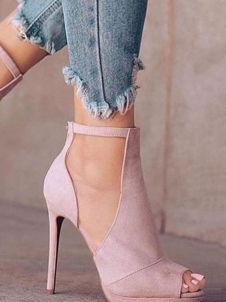 Milanoo Pink High Heels Suede Peep Toe Ankle Strap Stiletto Heels Women Shoes