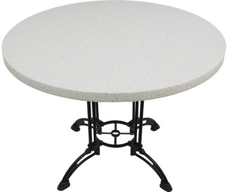 Q403 48 RD-CA28-34D 48 Round Snow White Quartz Tabletop with 24 Ornate Matte Black Dining Height Table Base w/ Umbrella Hole