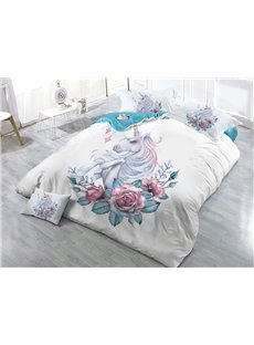 Unicorn and Flowers Printed White 3D 4-Piece Bedding Sets/Duvet Covers