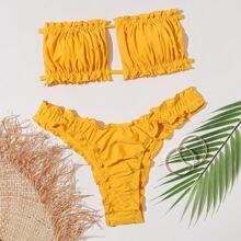 Bandeau Bikini Badeanzug mit Ruesche und gekraeuseltem Saum