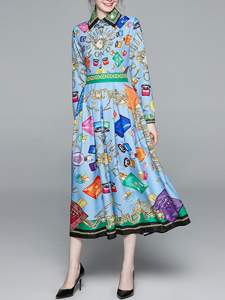 Milanoo Vestido largo Azul celeste claro Moda Mujer con letras con manga larga Vestidos de poliester elastica con botones de cuello vuelto Primavera