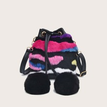 Colorblock Pom Pom Fluffy Bucket Bag