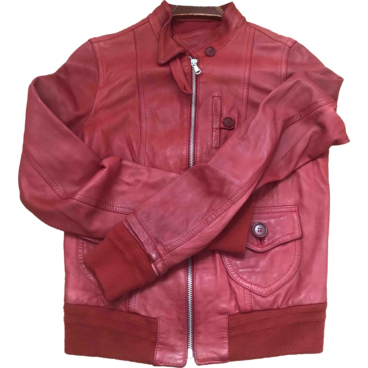 Non Signé / Unsigned \N Red Leather Leather jacket for Women M International