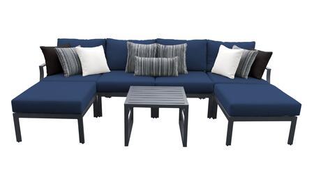 Lexington LEXINGTON-07a-NAVY 7-Piece Aluminum Patio Set 07a with 2 Armless Chairs  1 Left Arm Chair  1 Right Arm Chair  2 Ottomans and 1 End Table -