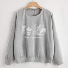 Pullover mit Buchstaben & Kaktus Muster