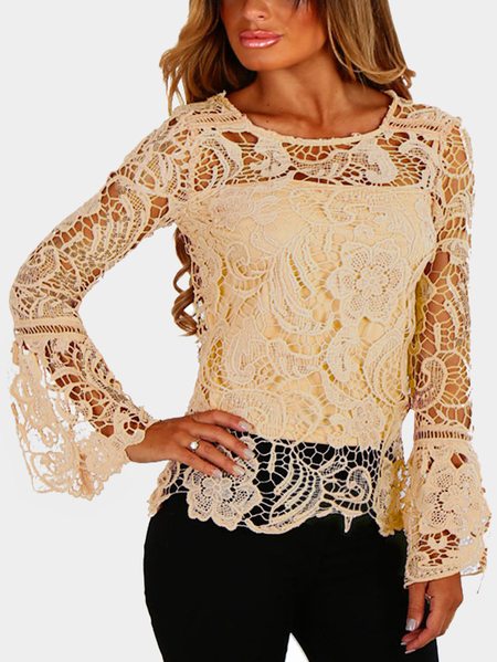 Yoins Khaki See-through Lace Round Neck Long Sleeves Sexy Top