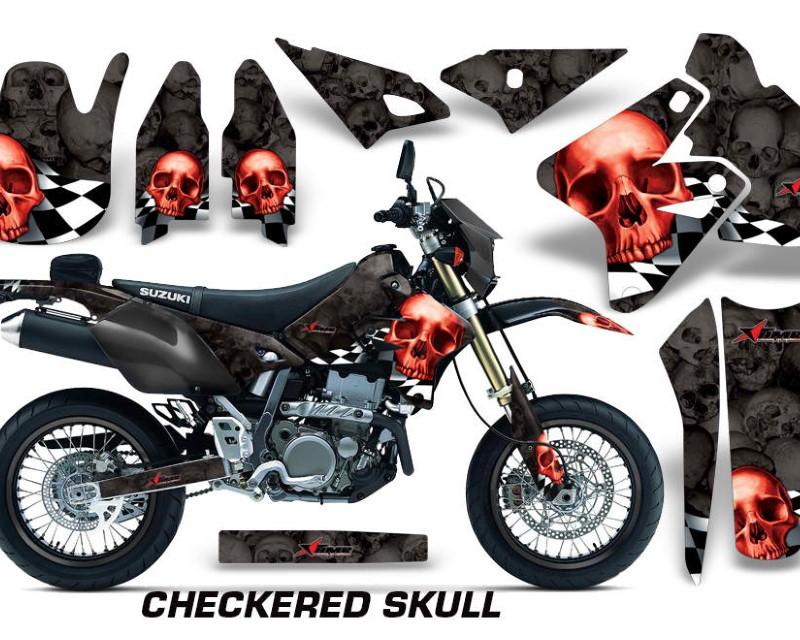 AMR Racing Dirt Bike Graphics Kit Decal Sticker Wrap For Suzuki DRZ400SM 2000-2018áCHECKERED RED BLACK
