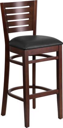 XU-DG-W0108BBAR-WAL-BLKV-GG Darby Series Slat Back Walnut Wooden Restaurant Bar stool - Black Vinyl
