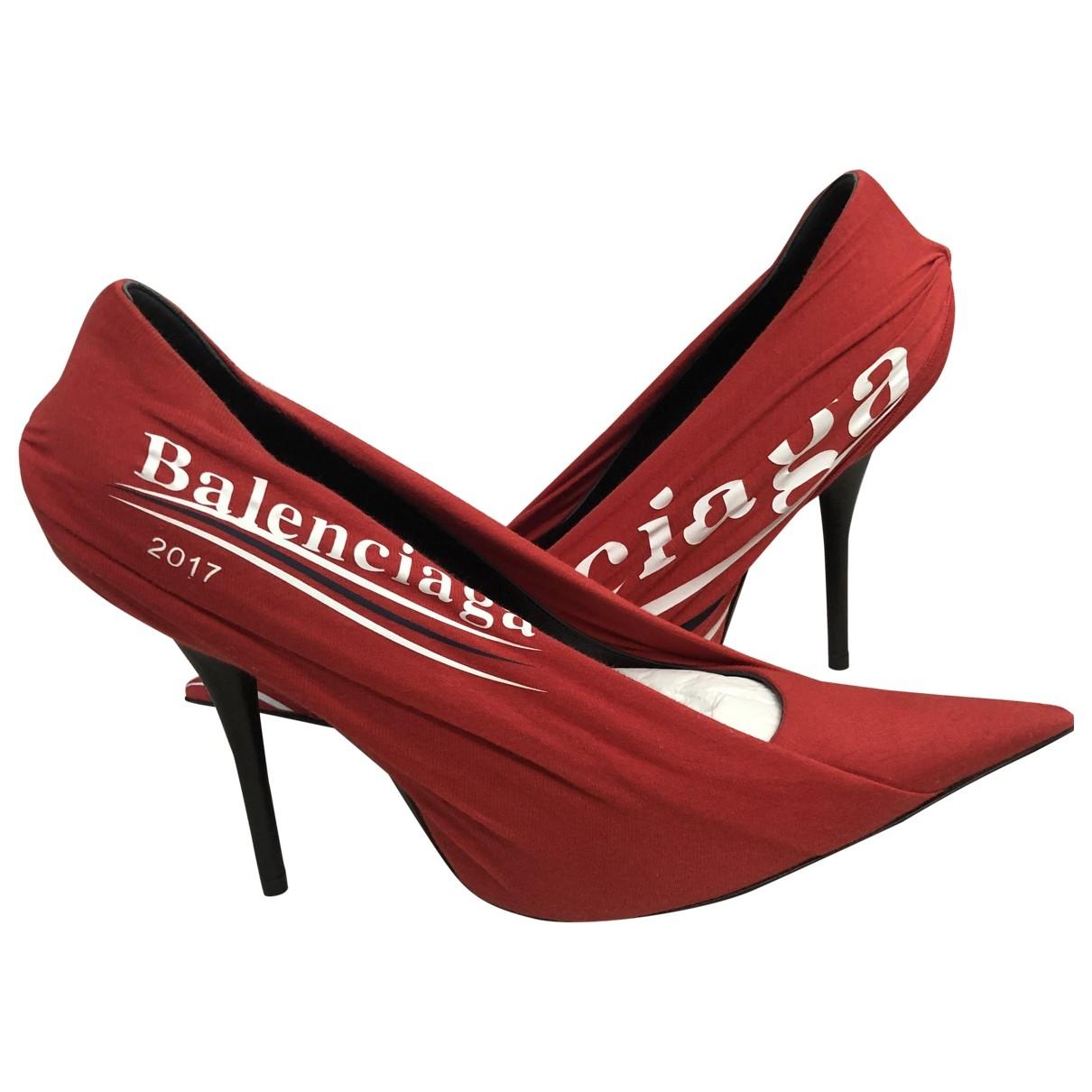 Balenciaga - Escarpins   pour femme en toile - rouge