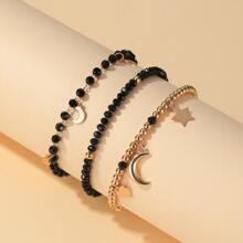 3 Stuecke Armband mit Stern & Mond Anhaenger