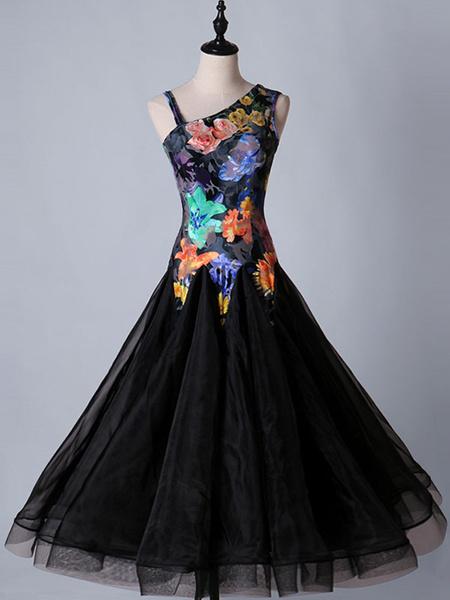 Milanoo Disfraz Halloween Vestidos de baile de salon de baile Vestidos de baile floral negro Mujeres de manga larga traje de practica de baile de orga