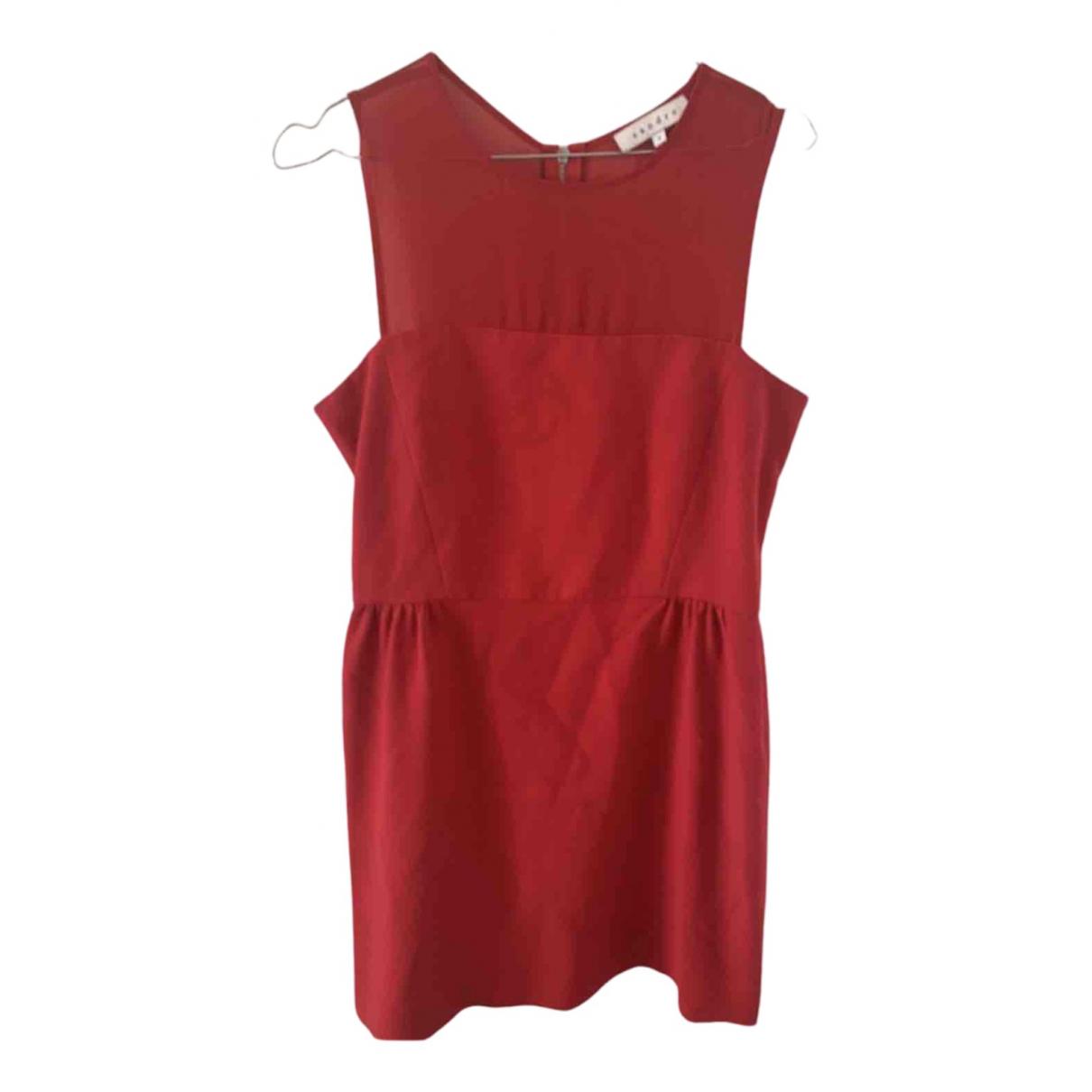 Sandro Fall Winter 2019 Kleid in  Rot Baumwolle