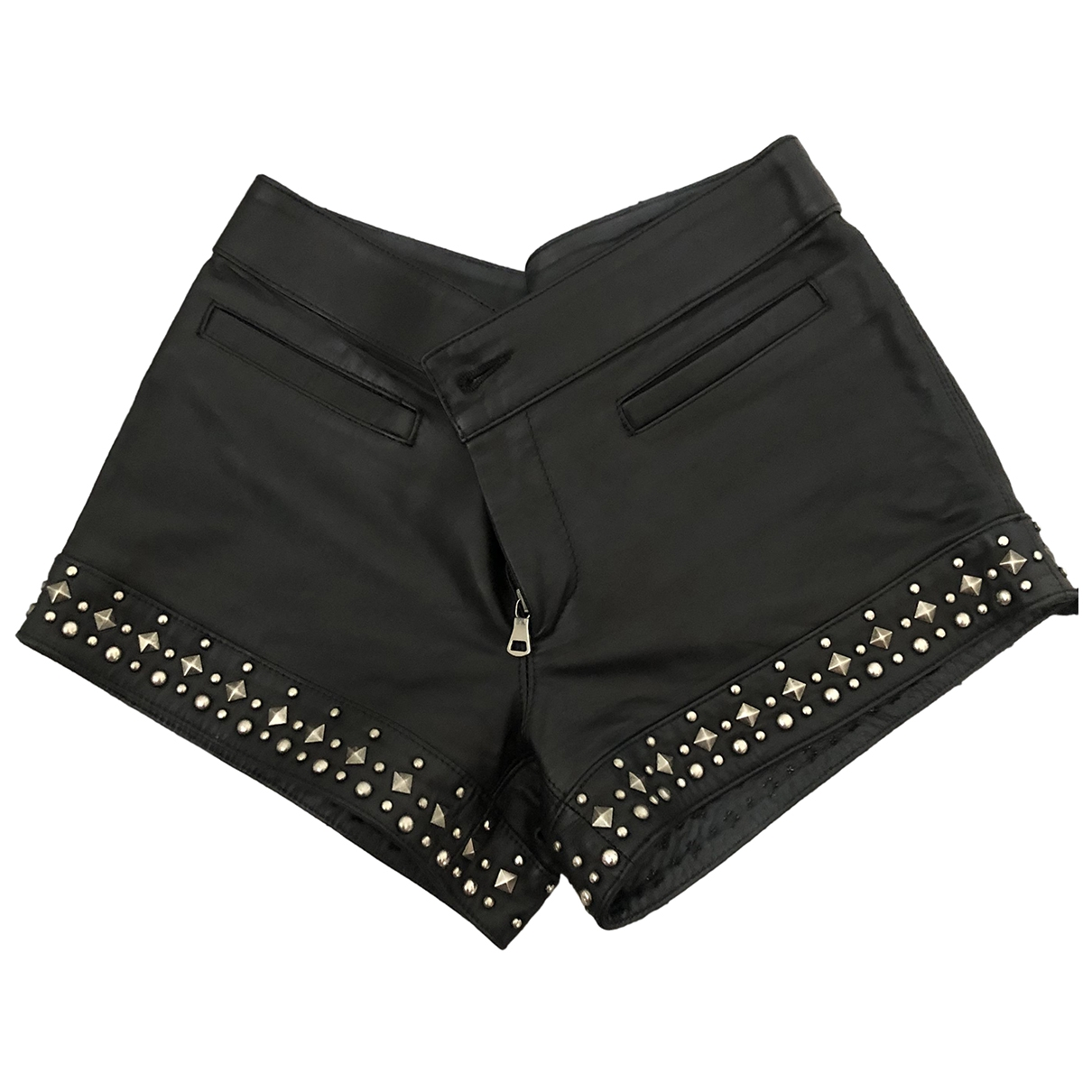 Non Signé / Unsigned \N Black Leather Shorts for Women 38 FR