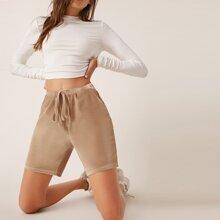 Knot Waist Slant Pocket Solid Velvet Shorts
