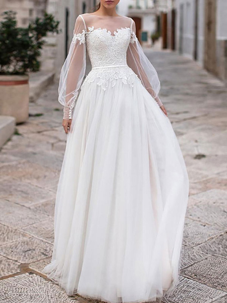Milanoo simple wedding dresses 2020 a line illusion neck long sleeve lace applique tulle boho wedding gowns
