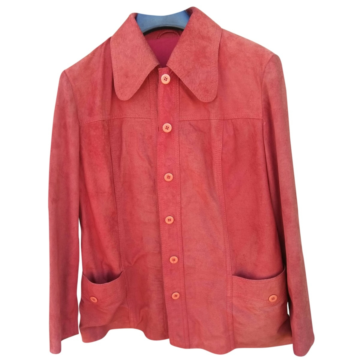 - Veste   pour femme en cuir - rouge