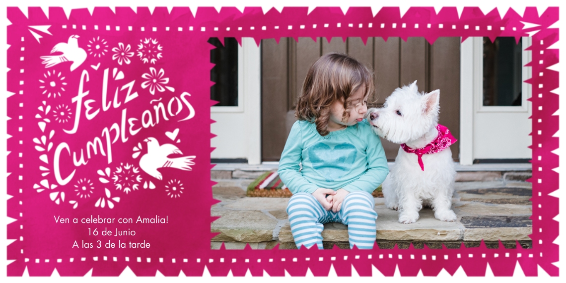 Birthday Party Invites Flat Matte Photo Paper Cards with Envelopes, 4x8, Card & Stationery -Feliz Cumpleanos