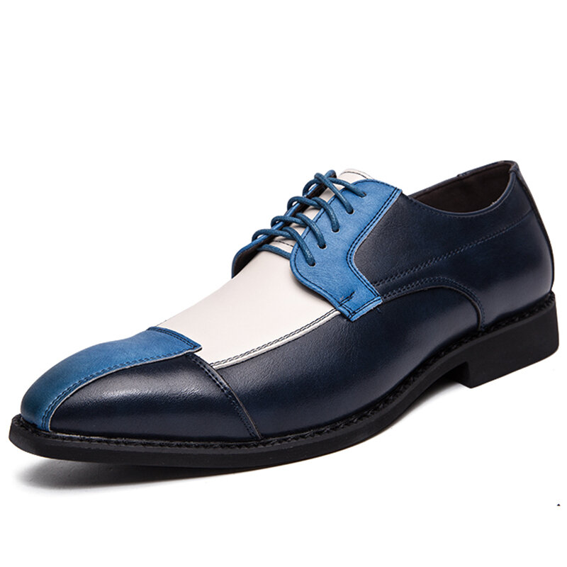 Men Microfiber Leather Splicing Non Slip Party Casual Formal Shoes