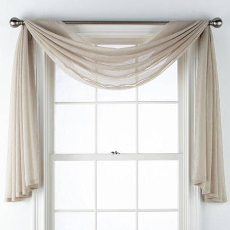 Home Expressions Crushed Voile Scarf Valance, One Size , Brown