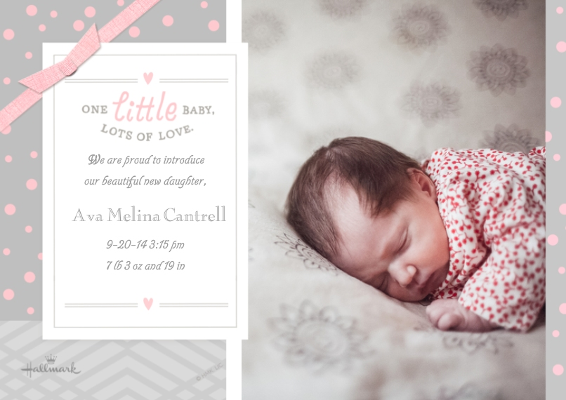 Baby Girl Announcements 5x7 Cards, Premium Cardstock 120lb with Rounded Corners, Card & Stationery -Lots of Love - Pink
