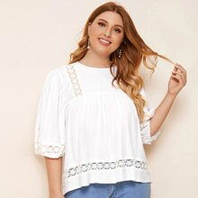 Plus Embroidered Mesh Insert Smock Top