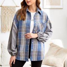 Tweed Mantel mit Knopfen und Plaid Muster