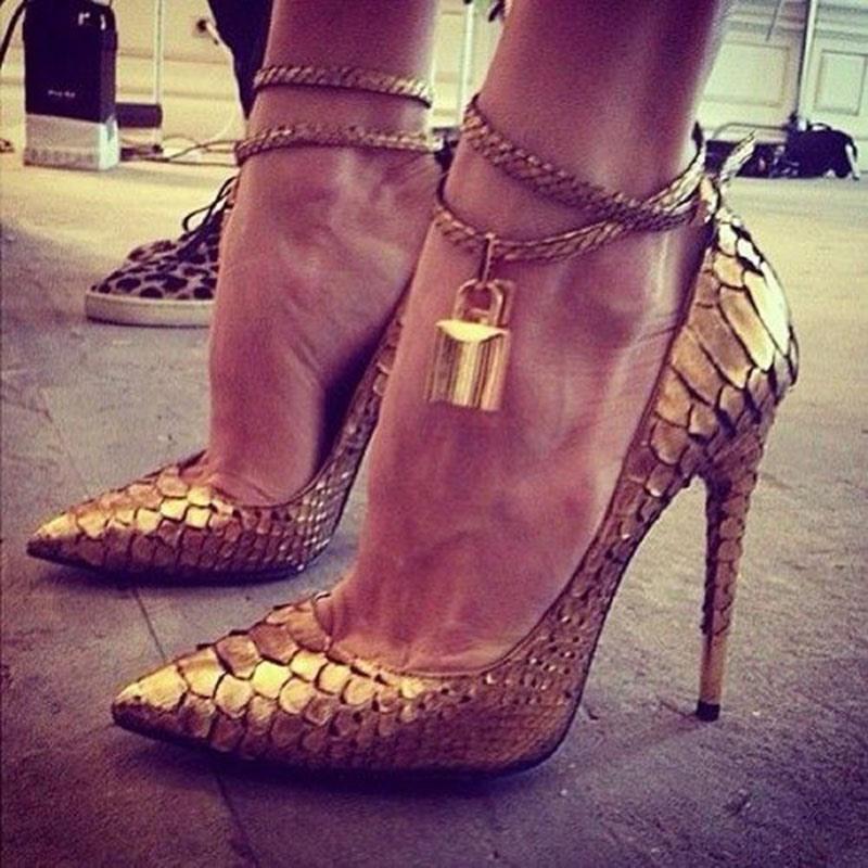 Ericdress Golden Pointed Toe Stiletto Heel Pumps