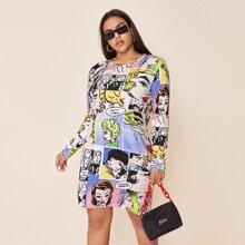 Plus Pop Art Print Tee Dress