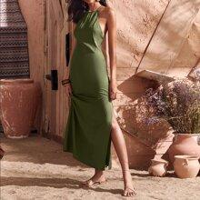 Crisscross Backless Slit Hem Cami Dress