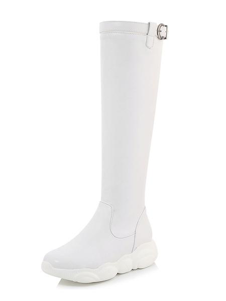 Milanoo de PU de puntera redonda Botas altas mujer negro  botas altas negras 4.5cm Plana con hebilla Color liso Otoño Invierno Cremallera