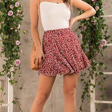 Ditsy Floral Ruffle Hem Skirt