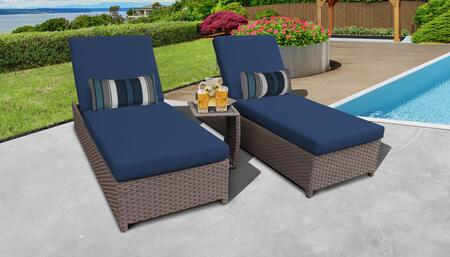Monterey Collection MONTEREY-W-2x-ST-NAVY Patio Set with 2 Chaise with Wheels  1 Side Table - Beige and Navy