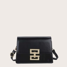 Metal Lock Flap Crossbody Bag