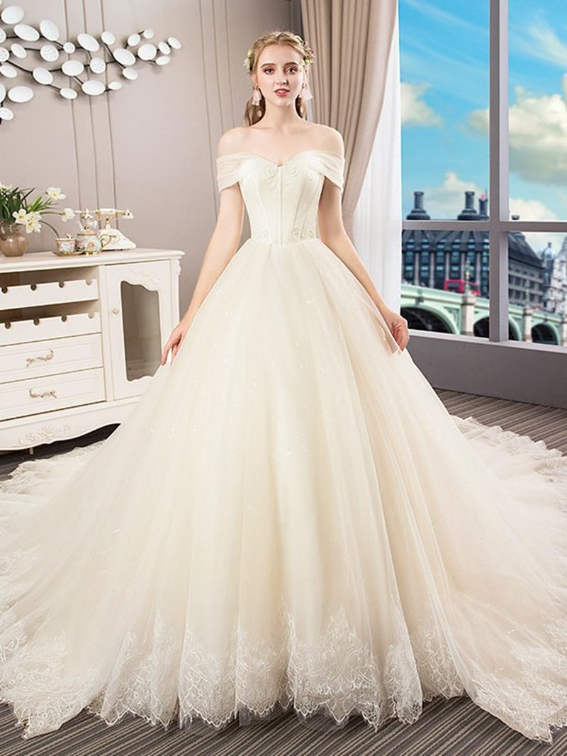 Ericdress A-Line Court Off-The-Shoulde Lace Wedding Dress 2020