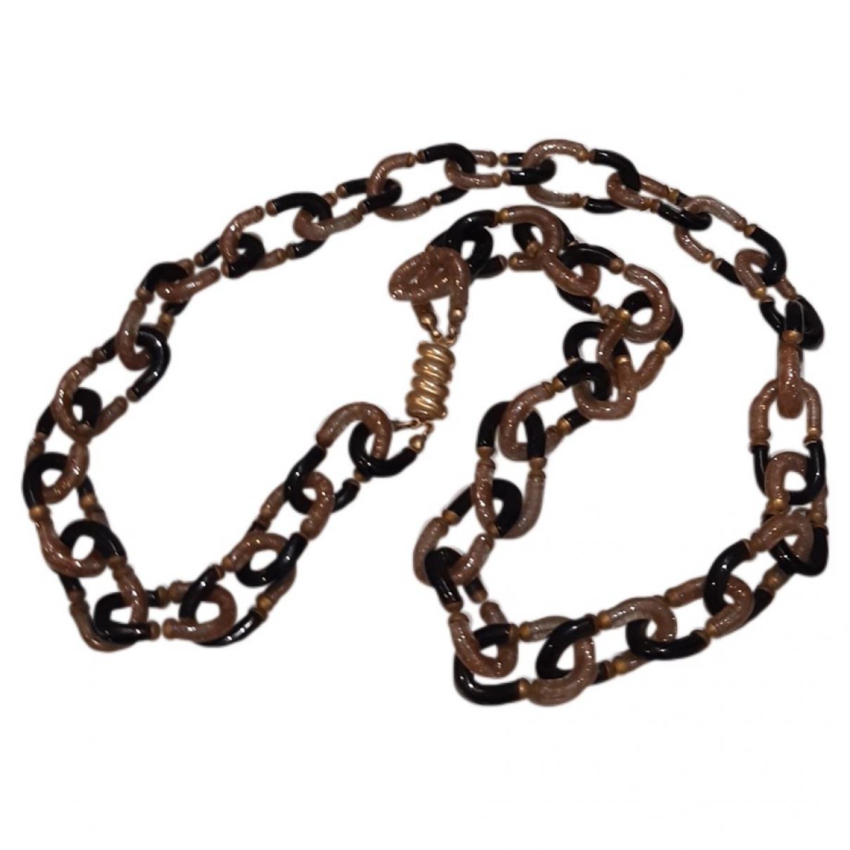 - Sautoir Chaines pour femme en verre - marron