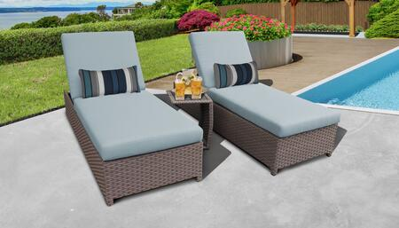 Monterey Collection MONTEREY-W-2x-ST-SPA Patio Set with 2 Chaise with Wheels  1 Side Table - Beige and Spa