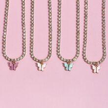 4 Stuecke Halskette mit Strass und Schmetterling Anhaenger